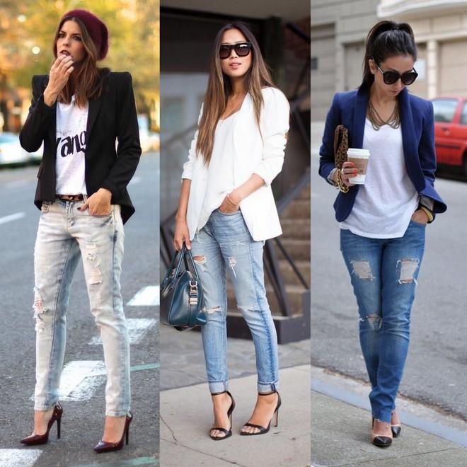 calça jeans destroyed com blazer
