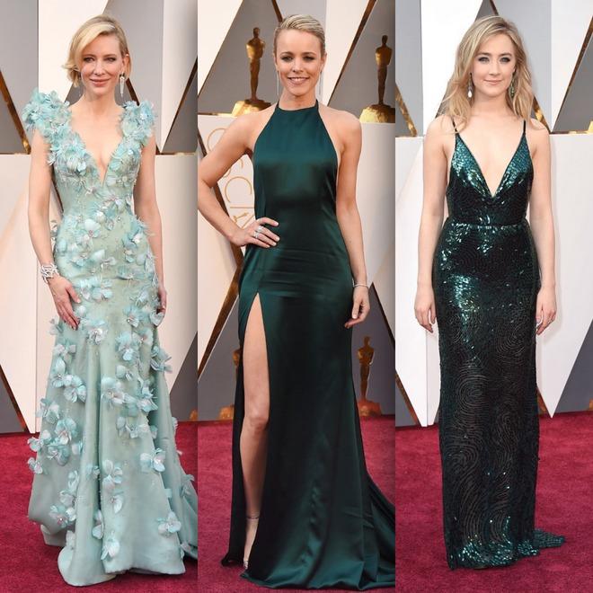 Cate Blanchett de vestido Armani, Rachel McAdams de August Getty Atelier e Saoirse Ronan de Calvin Klein