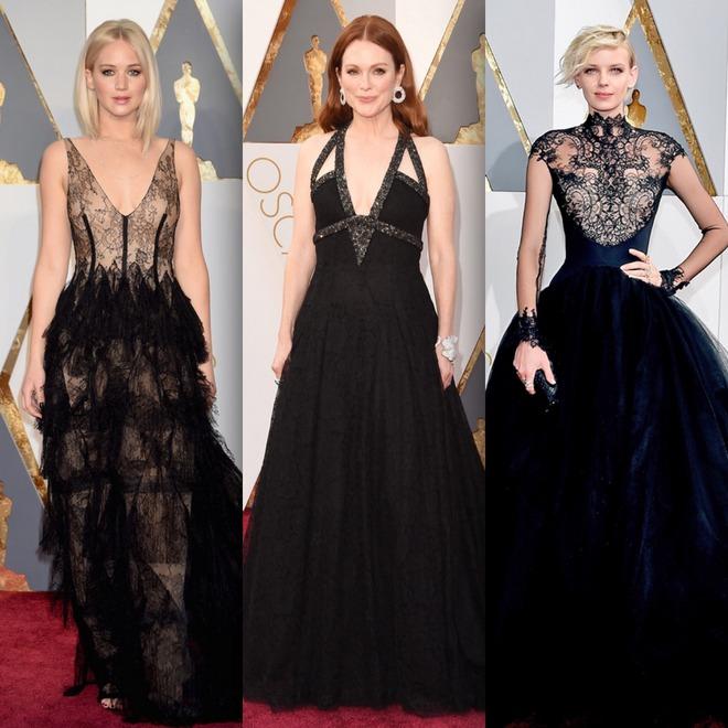 Jennifer Lawrence de vestido Dior; Julianne Moore de Chanel e Dorith Mous de Dennis Diem