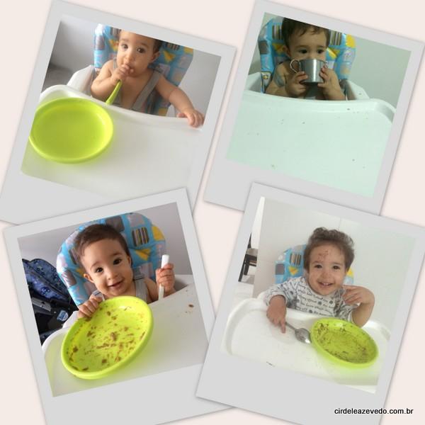 Depois do desmame ele continua a comer tudo, raspando o prato, cmo nessas fotos, que não sobrou nada no prato