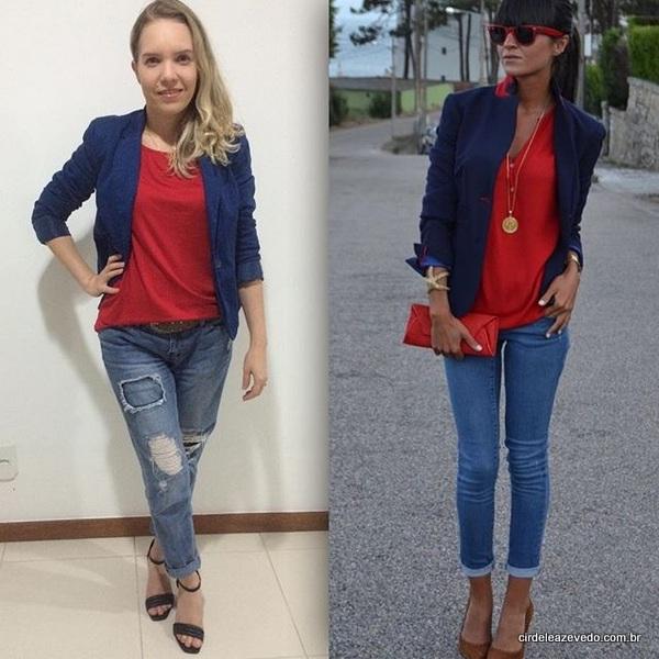 Eu usando sando blazer marinho e blusa vermelha da C&A e calça jeans destroyed da Forever 21.