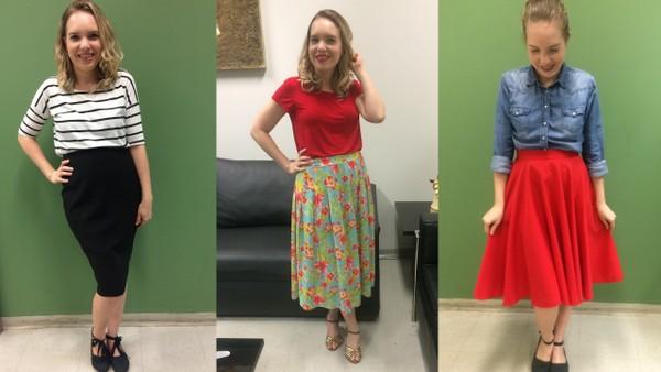Primeiro look: blusa listrada com saia preta. Segundo look: blusa vermelha com saia midi floral com fundo verde. Look 3: camisa jeans com sai midi vermelha