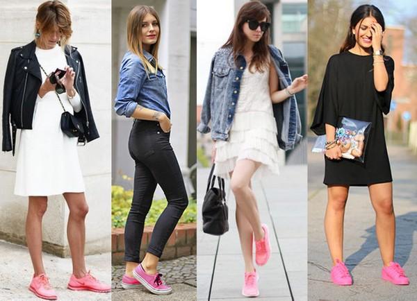 Looks usando como destaque tênis cor de rosa