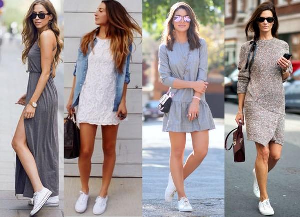 Produções com vestidos usando tênis branco