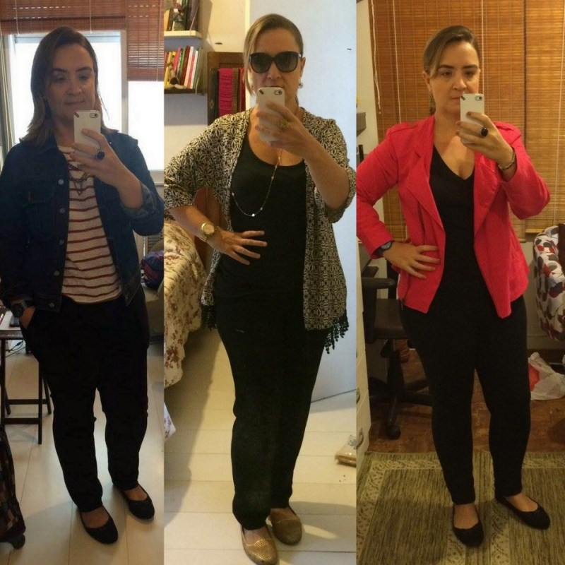 Sabrina investe na jaqueta jeans, kimono colorido e blazer vermelho para dar um up no combo calça e camiseta