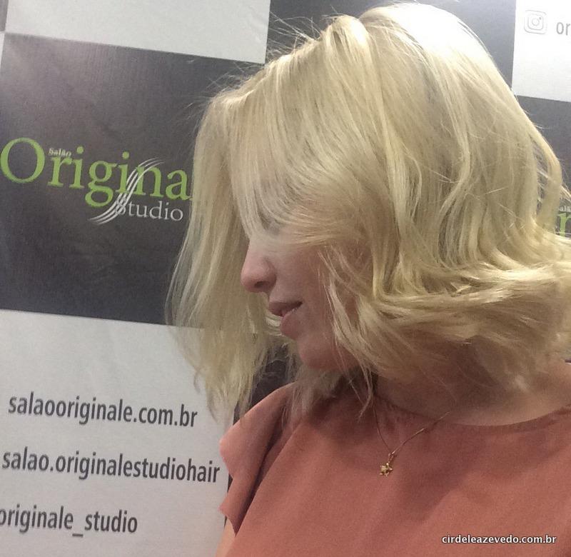 Depois de todo processo, meu cabelo de volta ao loiro, em foto de perfil, mostrando só o cabelo