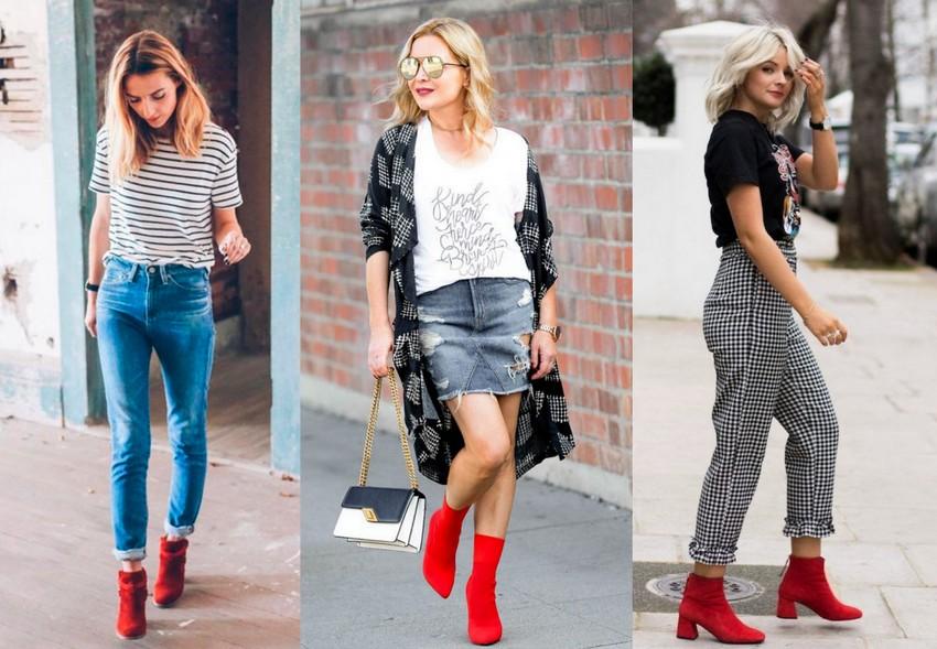 Looks usando bota vermelha com a combinação preto e branco