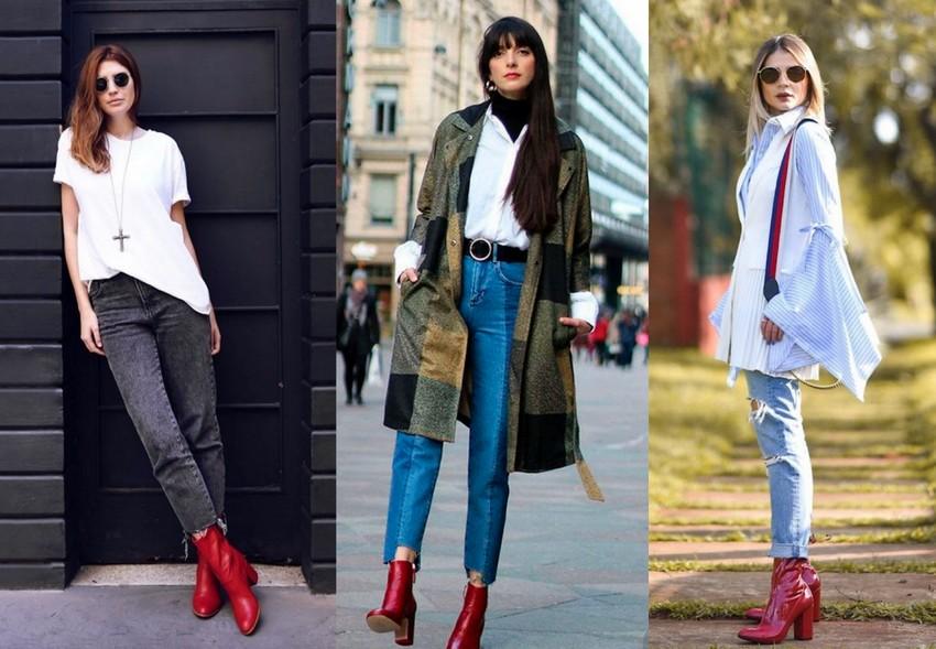 Looks usando bota vermelha com calça jeans