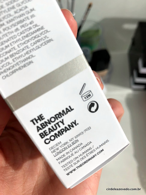 Detalhe do produto, mostrando que não testa em animais