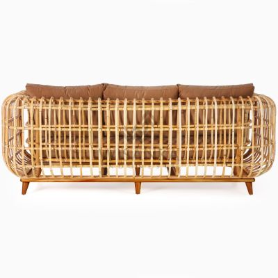 Siena Wicker Rattan Natural 3 Seater Living Chair rear