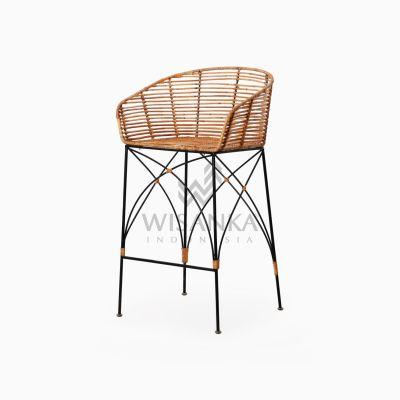 Chloe natural rattan wicker Bar Chair perspective