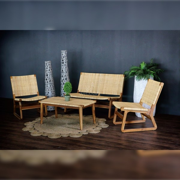 Muzu Lite Living Set - Natural Rattan Living Sofa