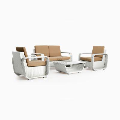 Detroit Living Set - White outdoor wicker furniture