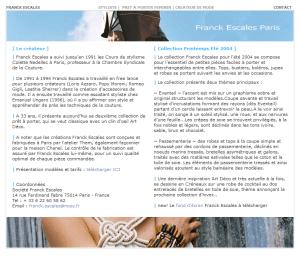 page internet Franck Escales 2003