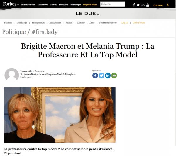 Loralis : Brigitte Macron et Melania Trump, la Professeure et la Top Model