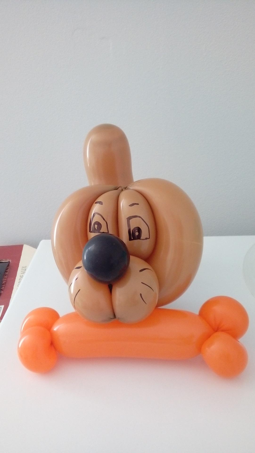 Petit chien marron en sculpture de ballon cirkonflex