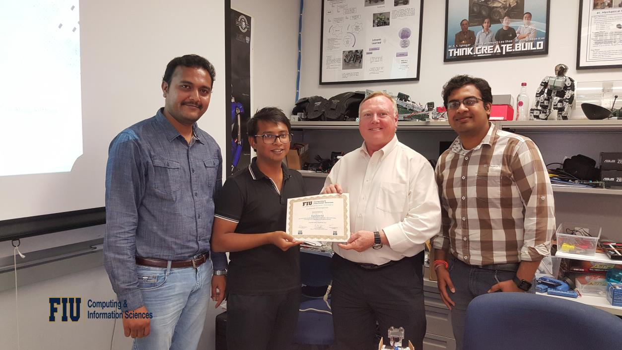 """Mr. Pathikrit Pal worked on the research project titled """"A Variation in the Working of Playfair Cipher"""" under the guidance of Mr.Thejas Gubbi Sadashiva, Mr.Sanjeev Kaushik Ramani, and Dr.S.S.Iyengar"""