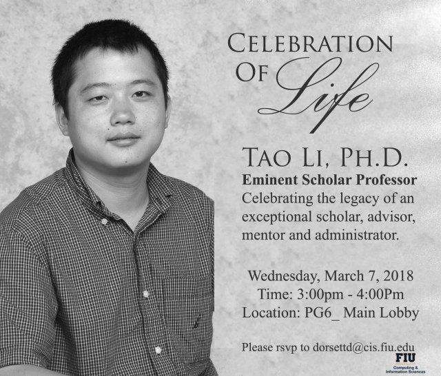 Celebration of Life Dr. Tao Li