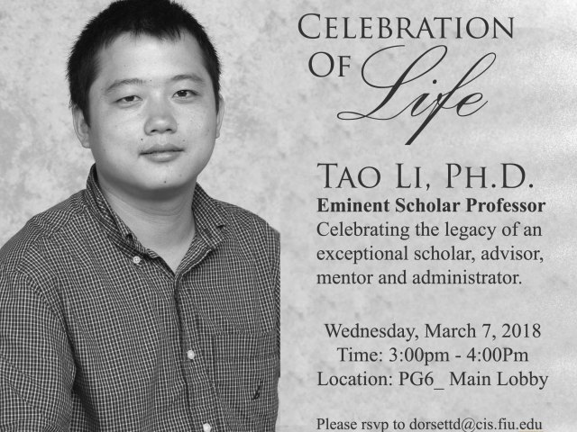 A flyer of Celebration of Life of Dr. Tao Li