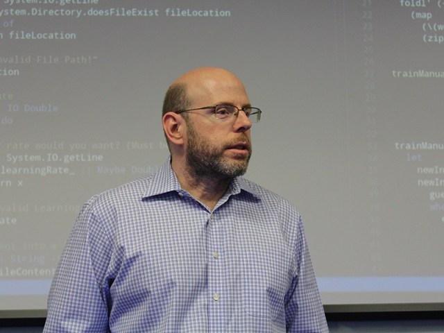 Photo of Mark Weiss teaching a class.