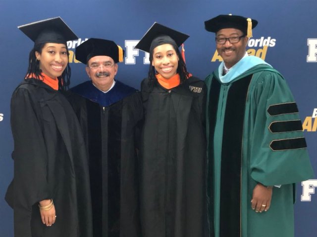 Photo of the Witherspoon twins and the dean of college of engineering