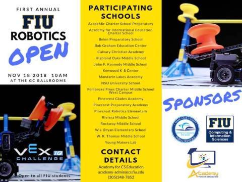 Flyer of FIU Robotics Open 2018