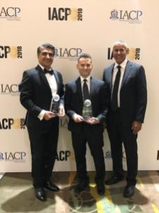 Photo of Dr. Masoud Sadjadi receiving the IACP Award