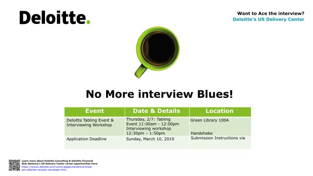 Flyer of Deloitte info session
