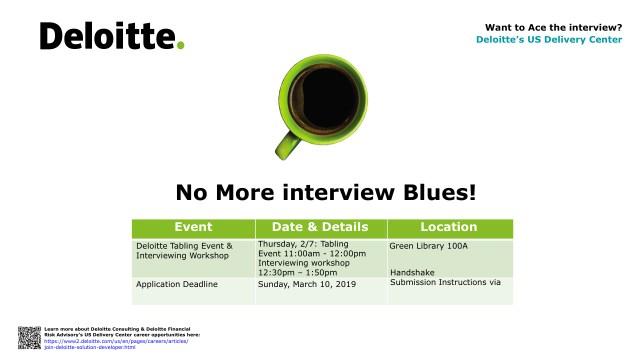 Flyer of Deloitte info session