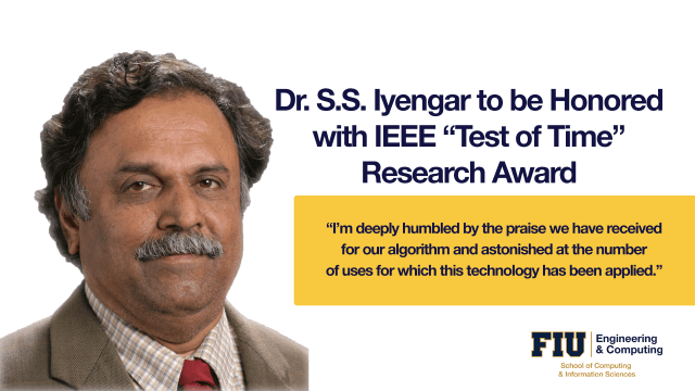 Image of S.S. Iyengar honored with IEEE Test of Time Research Award
