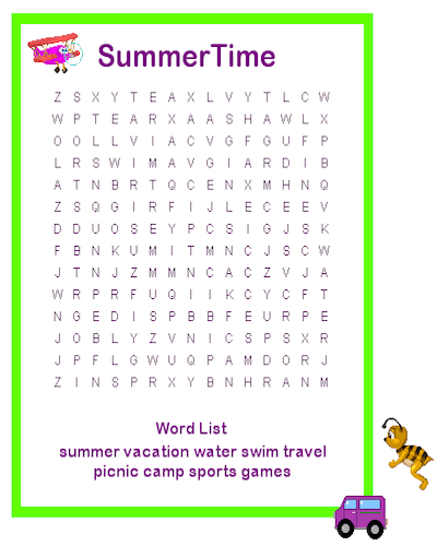 graphic about Printable Summer Wordsearch called Summertime Vacations Phrase Look Pdf