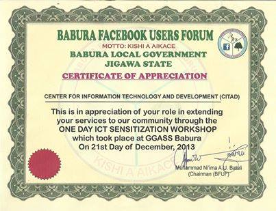 Report of ict sensitization workshop organized by citad in certificate of appreciation yadclub Choice Image