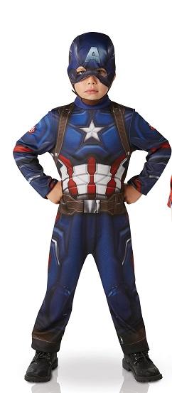 Costume Captain america 5 à 6 ans bouclier et gants magnétiques