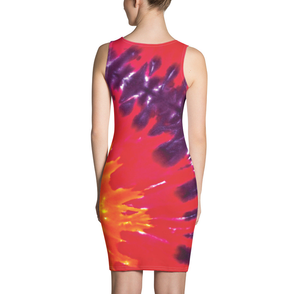 Summer Dress Tight Fitted Dress Cocktail Dress Tie Dye Halter Dress Party Dress Sizes XS-XL Colorful Pullover Fitted Dress