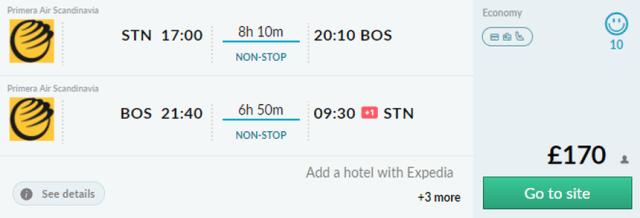 Предложение на седмицата: Двупосочни полети от Лондон до Бостън от 195 Евро