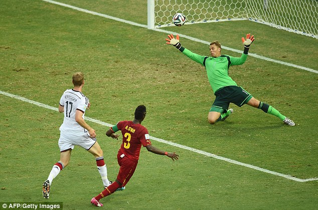 Gyan scored against eventual winners of the 2014 World Cup, Germany