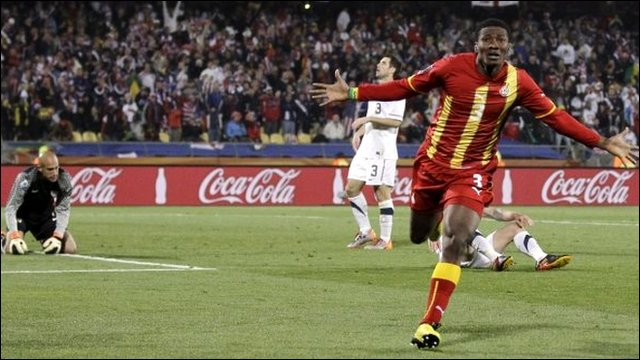 Gyan celebrates after scoring against the US