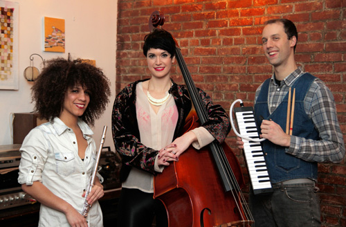 Flute loops: Domenica Fossati, Lisa Maree Dowling, and Owen Weaver formed their band, Concert Black, as a melding of classical, Afrobeat and hip hop.  Photo © Ken Yapelli