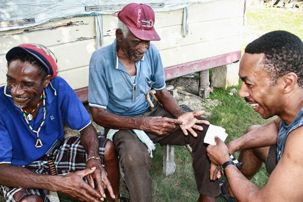 Clifton 'Packiman' Rowe and Roy share a laugh with their late Uncle, Lewis Rowe Courtesy of Roy Anderson