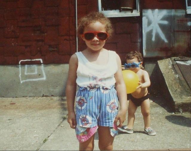 "Rosa Rivera in Bushwick circa 1991. ""The little dude in the back is my brother."" (Courtesy Rosa Rivera)"