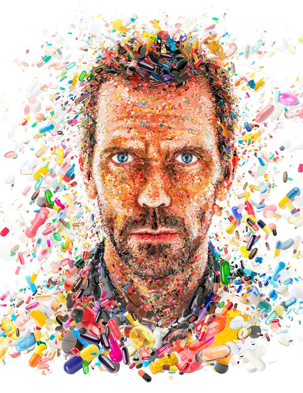 FILE: TVGuide_HughLaurie TITLE: Hugh Laurie: Doctor House of Pills CLIENT: TV Guide COUNTRY: USA KIND: Cover illustration YEAR: 2012 DESCRIPTION: Mosaic portrait of Hugh Laurie (Dr.House) for the cover of TV GUIDE magazine.