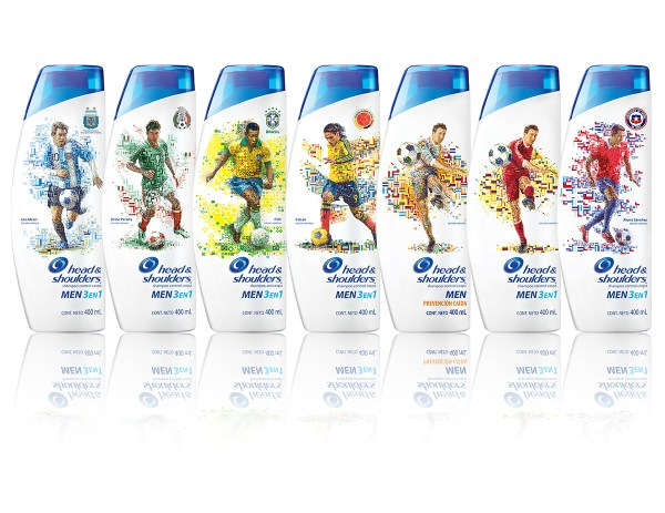 FILE: HeadAndShoulders_WorldCup2014.jpg TITLE: Head & Shoulders for World Cup 2014 CLIENT: Procter & Gamble COUNTRY: Worldwide KIND: Packaging illustrations YEAR: 2014 DESCRIPTION: Illustrations of Latin America's best footballers for the limited edition collectable packaging of H&S shampoo.
