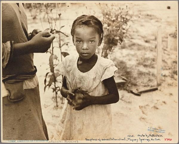 Arthur Rothstein - daughter of Dalton McLeod, Negro rehabilitation client. Fuquay Springs, North Carolina. – 1935 http://digitalcollections.nypl.org/items/b49be3c6-04d5-fe1f-e040-e00a18060ea3