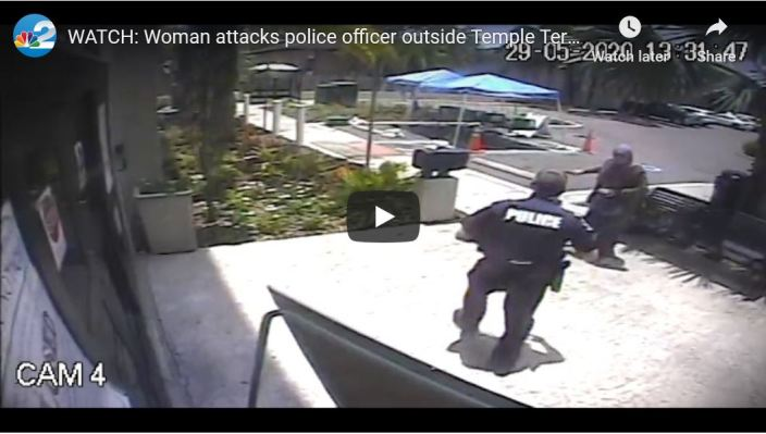 SHOCK VIDEO — Muslim woman with giant knife tries to kill police officer outside Florida City Hall…