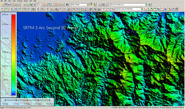 Data SRTM 3 Arc Second (30 Meter)