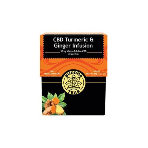 Buddha teas cbd tea turmeric ginger infusion x 18 tea bags 90mg cbd