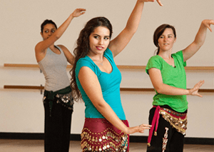 Belly dancers in class
