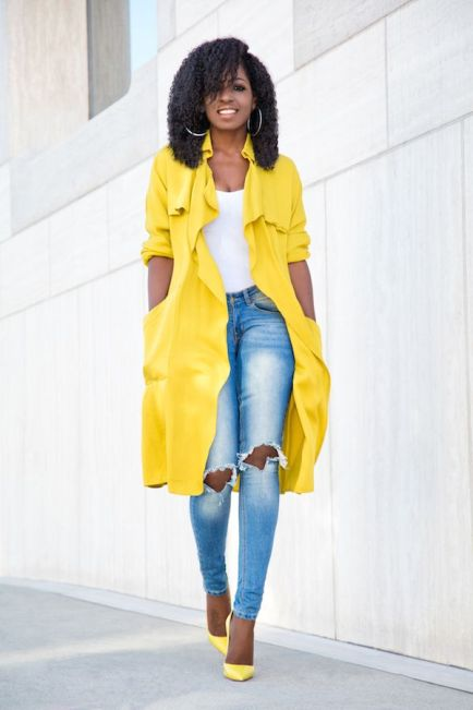 yellow trench, yellow outfit