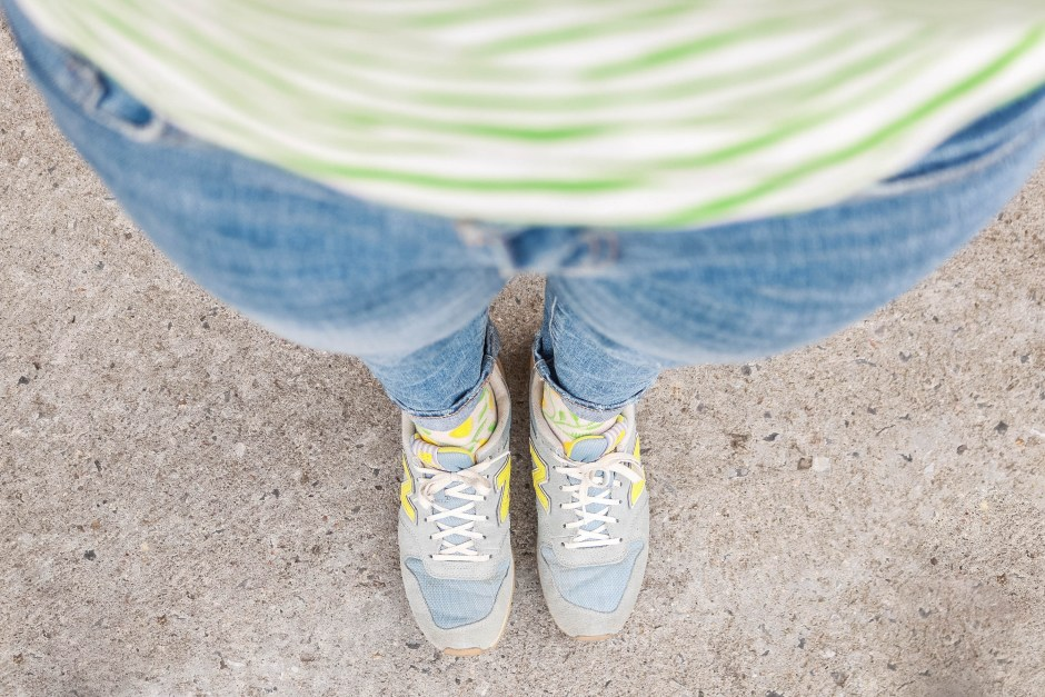 fashion style colorful printed yellow lemon socks, green tripe tee outfit