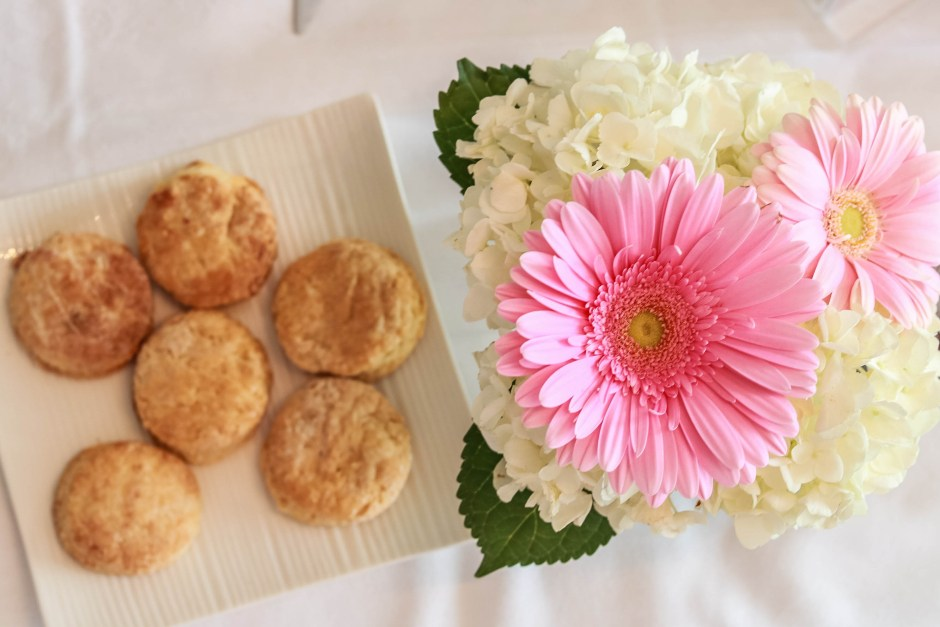 mother's day afternoon tea, scones, pink flowers,